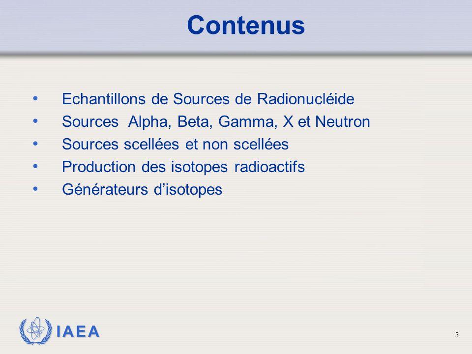 Contenus Echantillons de Sources de Radionucléide