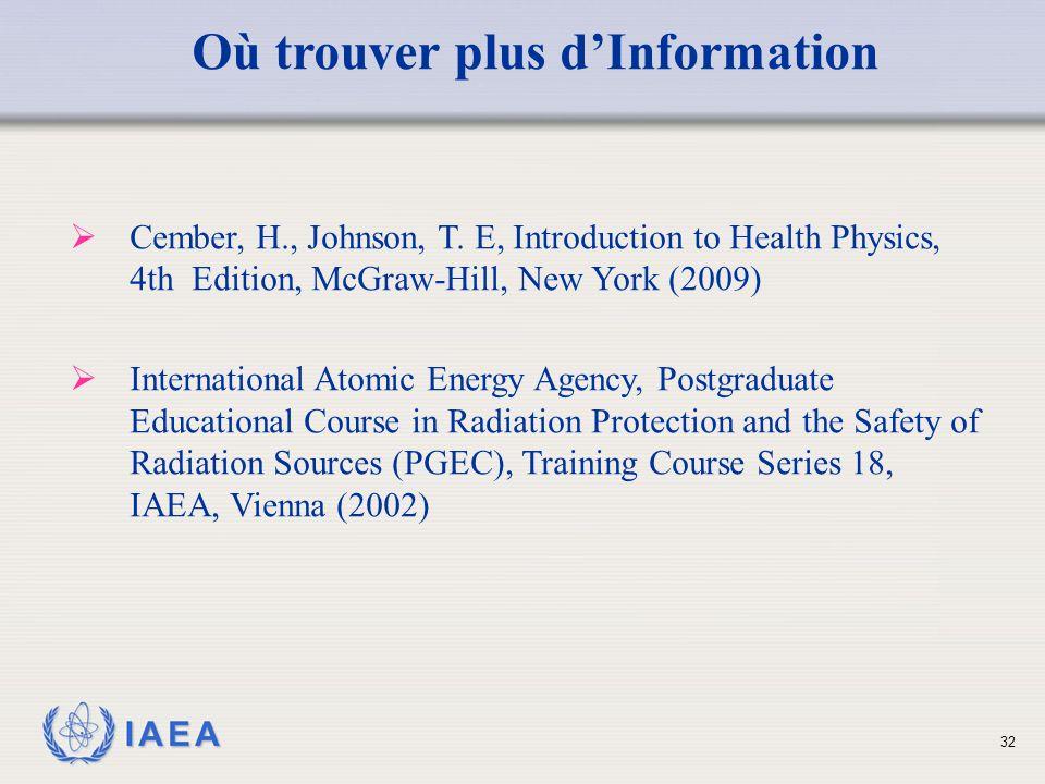 Où trouver plus d'Information
