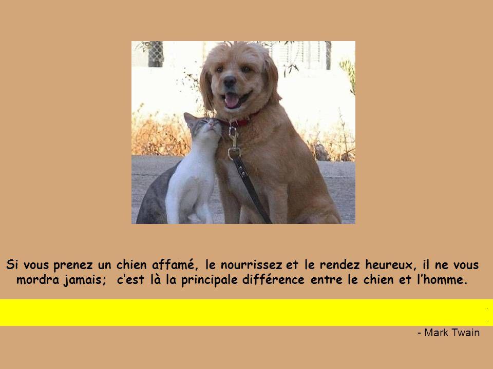 Si vous prenez un chien affamé, le nourrissez et le rendez heureux, il ne vous mordra jamais; c'est là la principale différence entre le chien et l'homme.