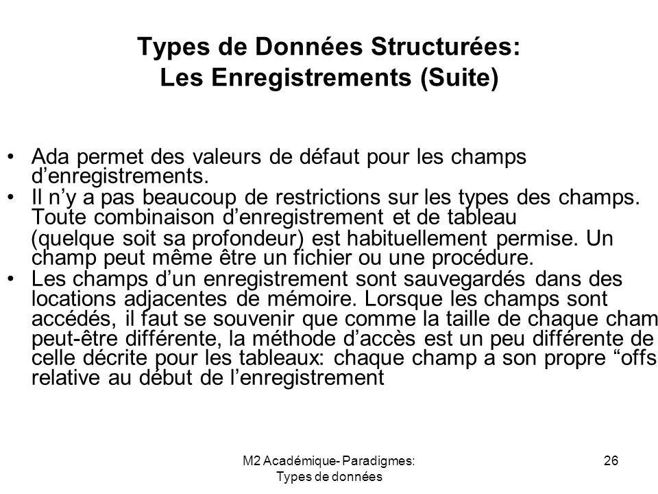 Types de Données Structurées: Les Enregistrements (Suite)