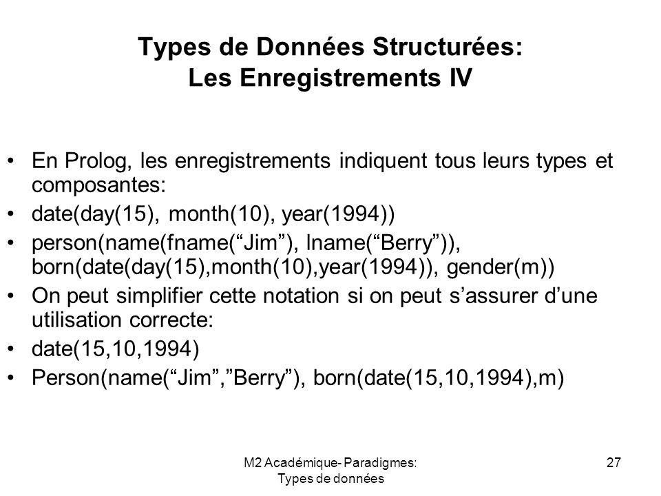 Types de Données Structurées: Les Enregistrements IV