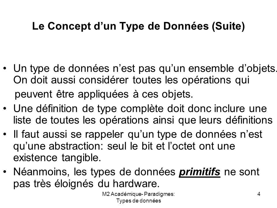 Le Concept d'un Type de Données (Suite)