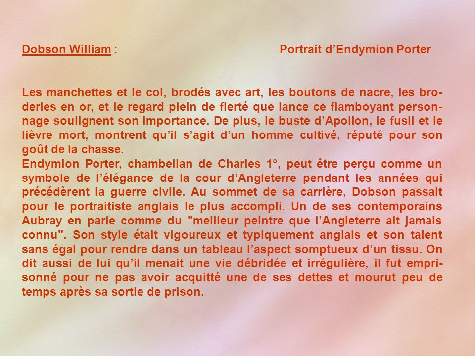 Dobson William : Portrait d'Endymion Porter