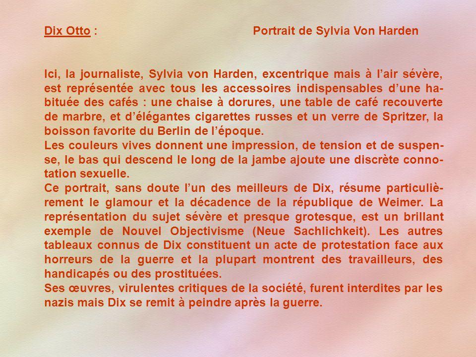Dix Otto : Portrait de Sylvia Von Harden