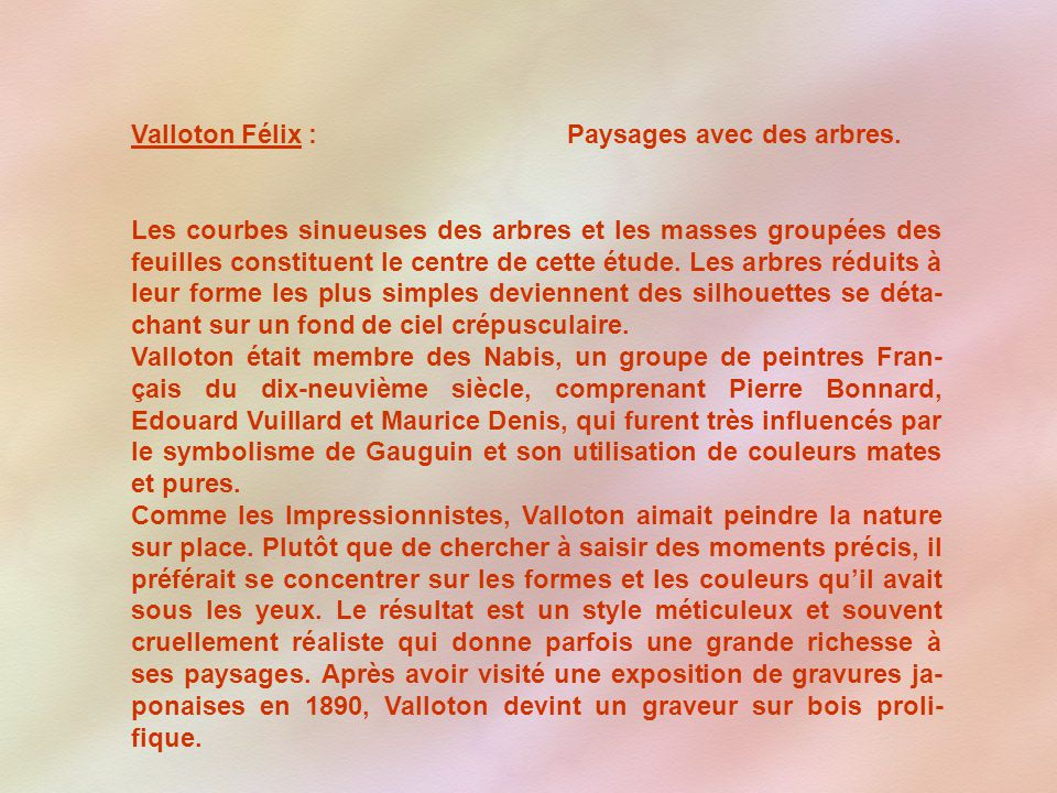 Valloton Félix : Paysages avec des arbres.