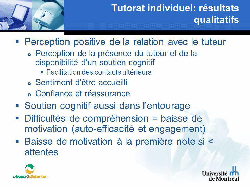 Tutorat individuel: résultats qualitatifs