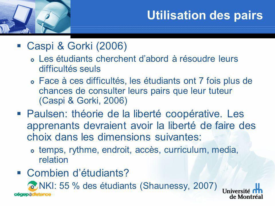 Utilisation des pairs Caspi & Gorki (2006)