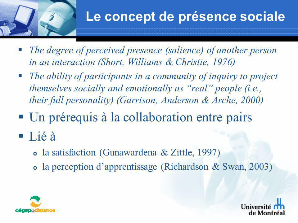 Le concept de présence sociale