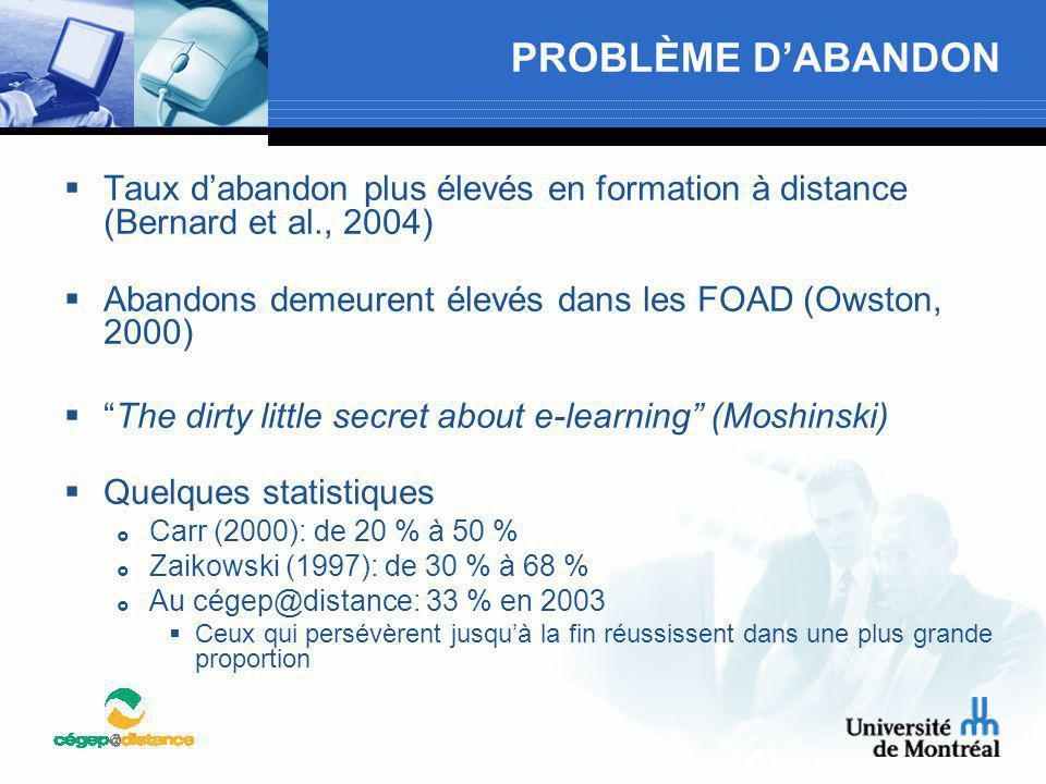 PROBLÈME D'ABANDON Taux d'abandon plus élevés en formation à distance (Bernard et al., 2004) Abandons demeurent élevés dans les FOAD (Owston, 2000)