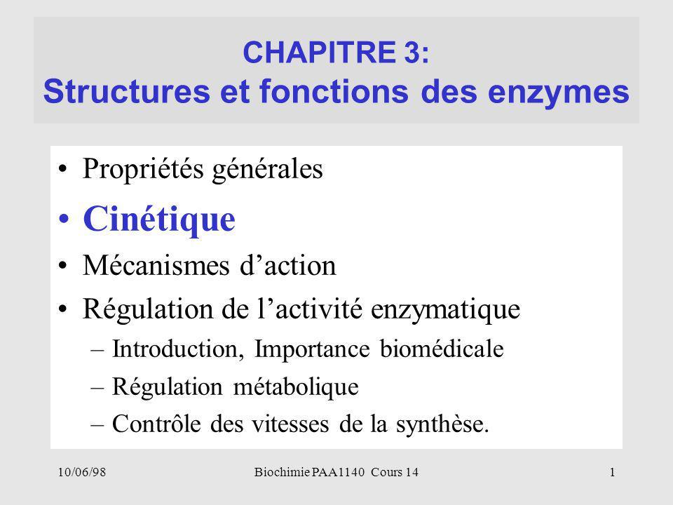 CHAPITRE 3: Structures et fonctions des enzymes