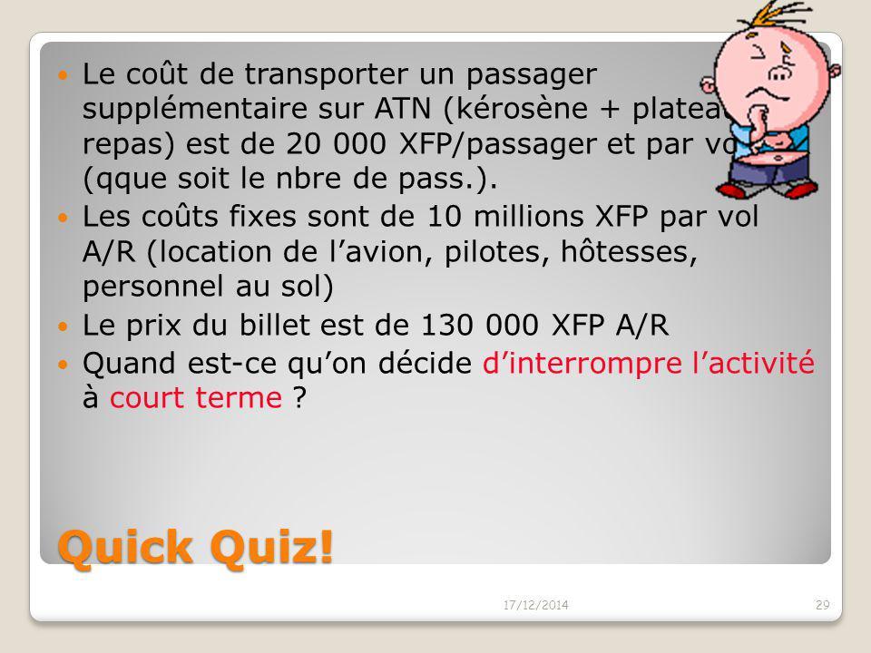 Le coût de transporter un passager supplémentaire sur ATN (kérosène + plateau repas) est de 20 000 XFP/passager et par vol A/R (qque soit le nbre de pass.).