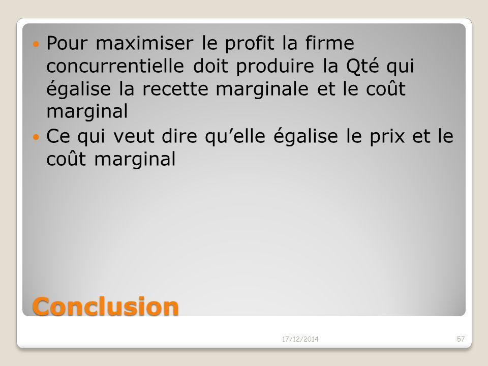 Pour maximiser le profit la firme concurrentielle doit produire la Qté qui égalise la recette marginale et le coût marginal