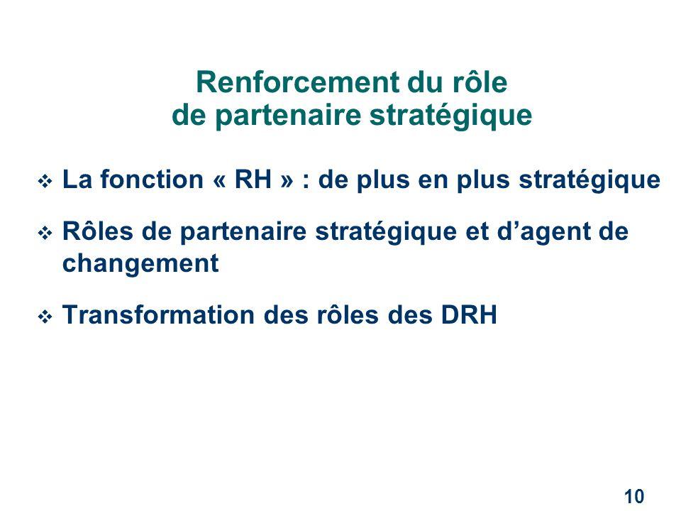 Renforcement du rôle de partenaire stratégique