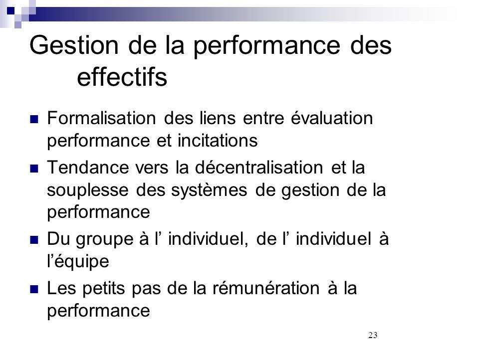 Gestion de la performance des effectifs