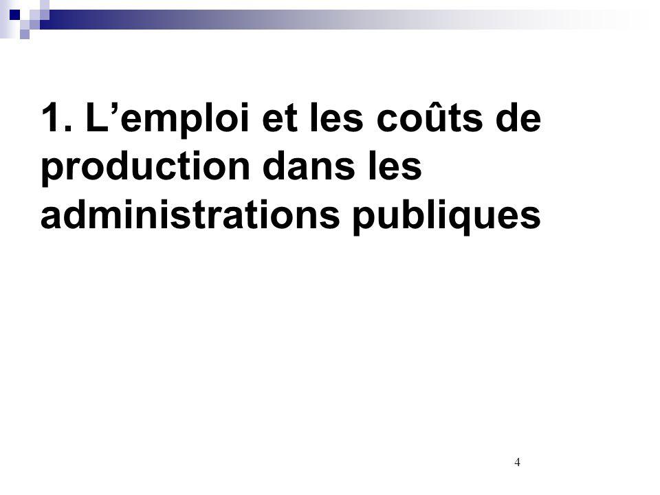 1. L'emploi et les coûts de production dans les administrations publiques