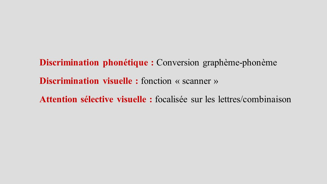 Discrimination phonétique : Conversion graphème-phonème