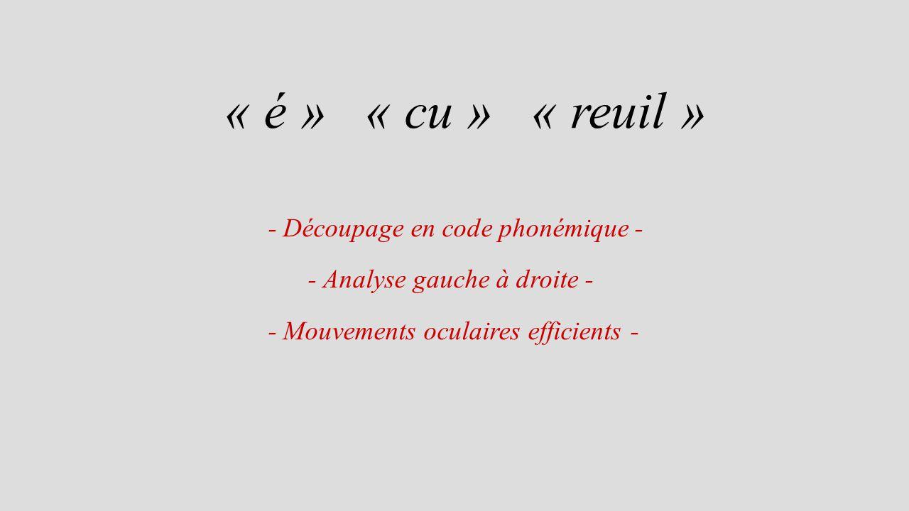 « é » « cu » « reuil » - Découpage en code phonémique -