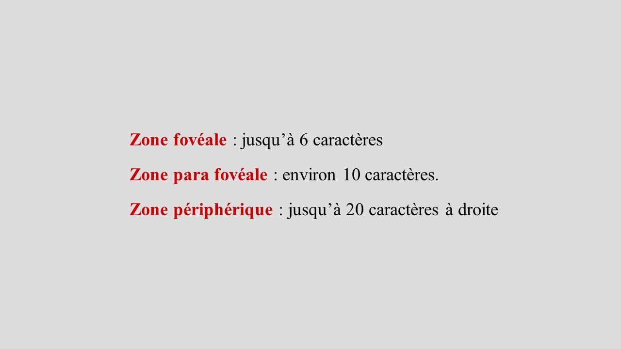 Zone fovéale : jusqu'à 6 caractères