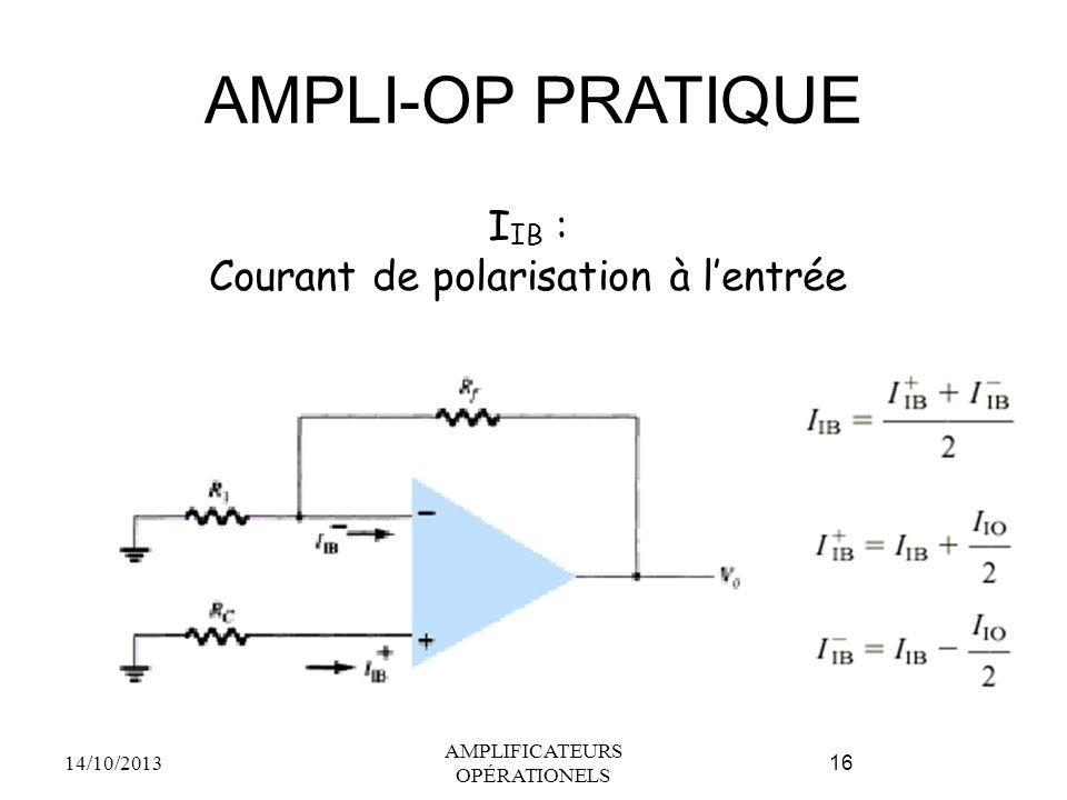 AMPLI-OP PRATIQUE IIB : Courant de polarisation à l'entrée
