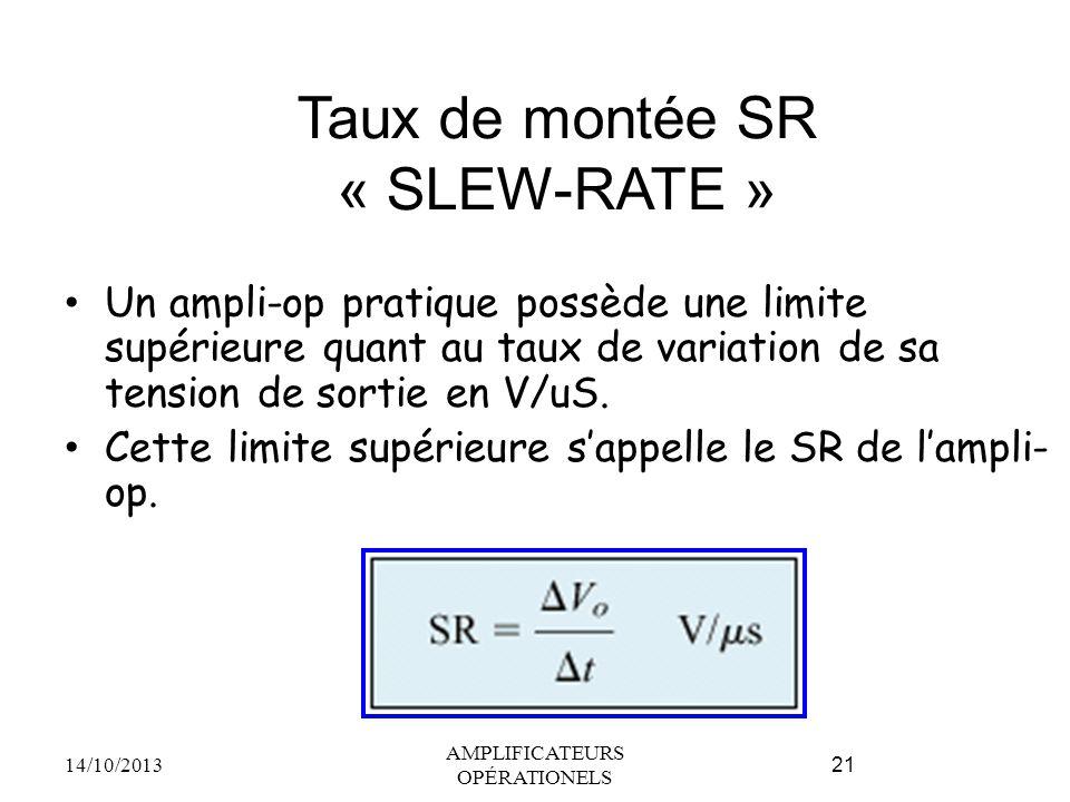 Taux de montée SR « SLEW-RATE »