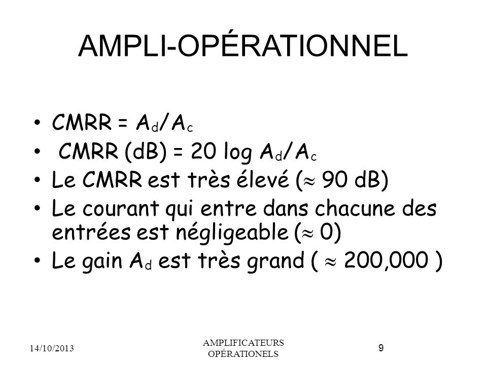 AMPLIFICATEURS OPÉRATIONELS