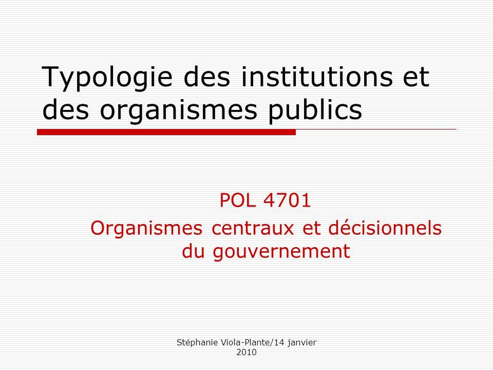 Typologie des institutions et des organismes publics
