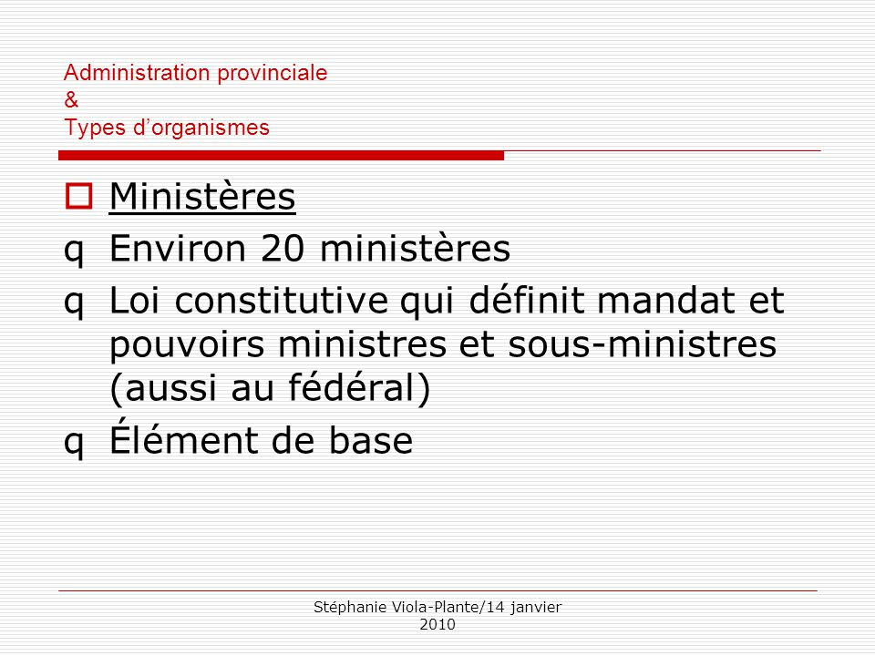 Administration provinciale & Types d'organismes
