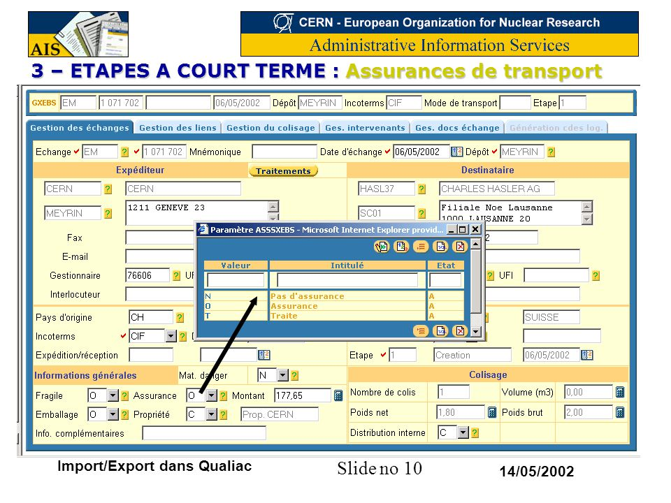 3 – ETAPES A COURT TERME : Assurances de transport