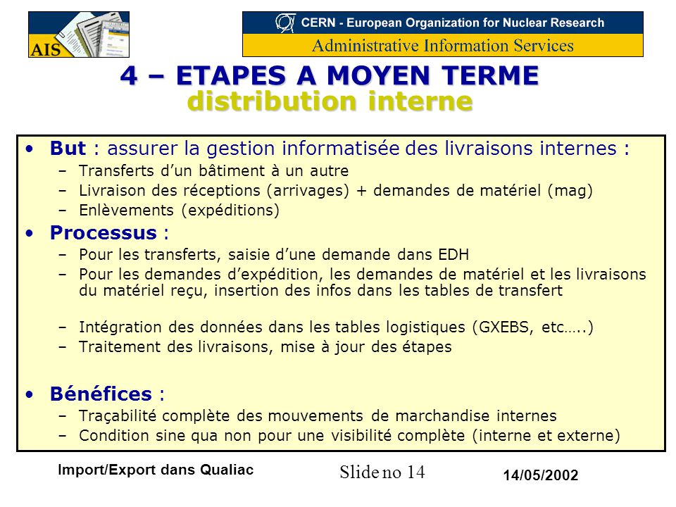4 – ETAPES A MOYEN TERME distribution interne