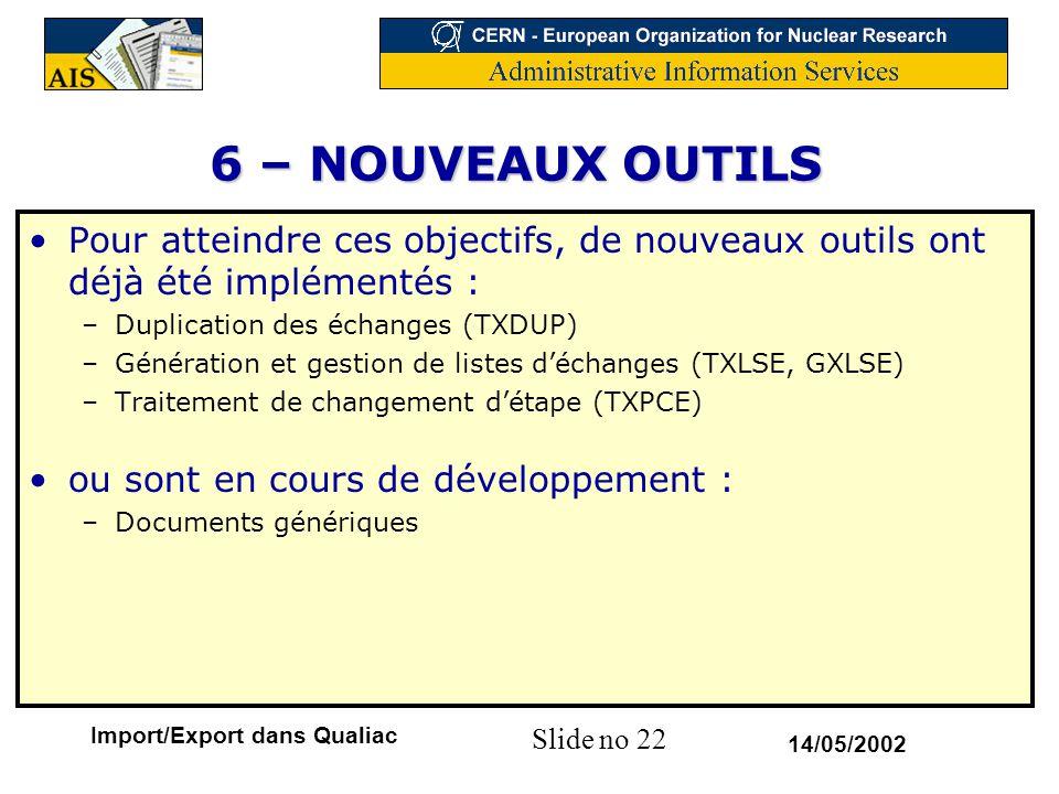 6 – NOUVEAUX OUTILS Pour atteindre ces objectifs, de nouveaux outils ont déjà été implémentés : Duplication des échanges (TXDUP)