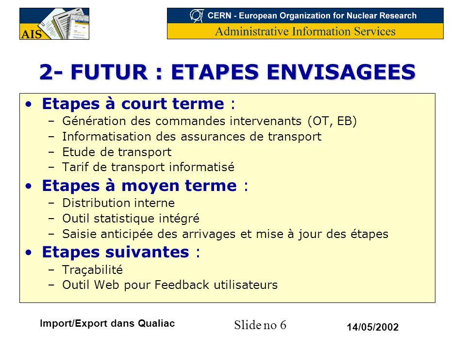 2- FUTUR : ETAPES ENVISAGEES