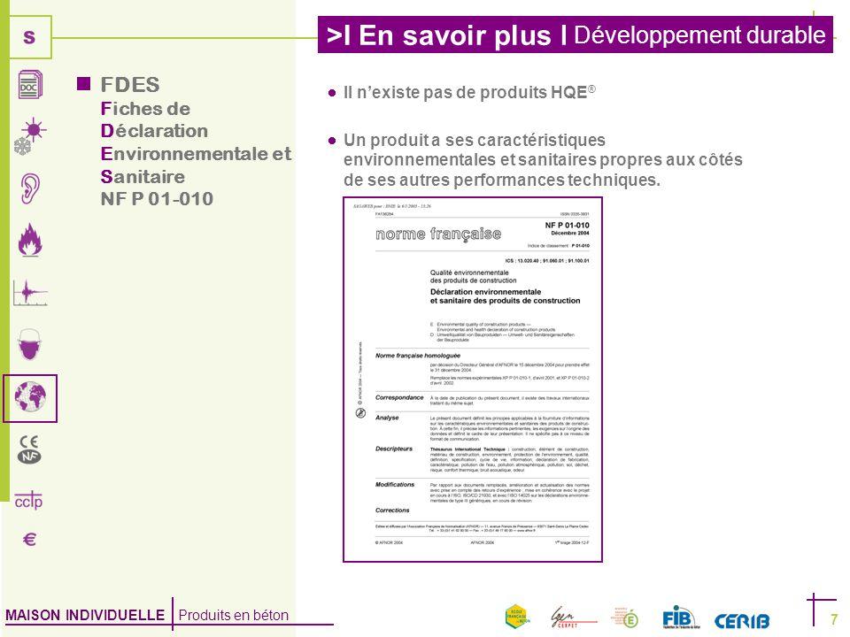 FDES Fiches de Déclaration Environnementale et Sanitaire NF P 01-010