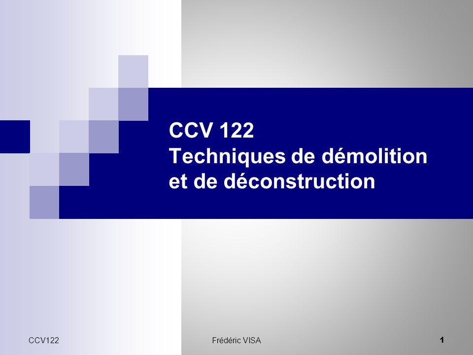 CCV 122 Techniques de démolition et de déconstruction