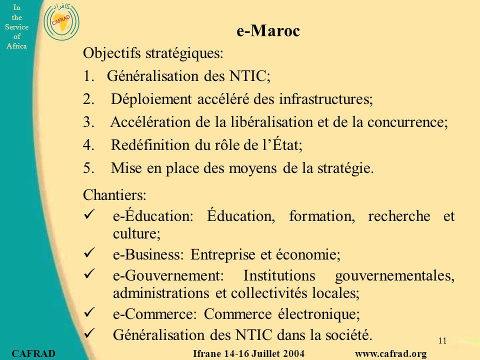 e-Maroc Objectifs stratégiques: Généralisation des NTIC;