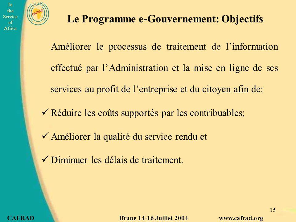Le Programme e-Gouvernement: Objectifs