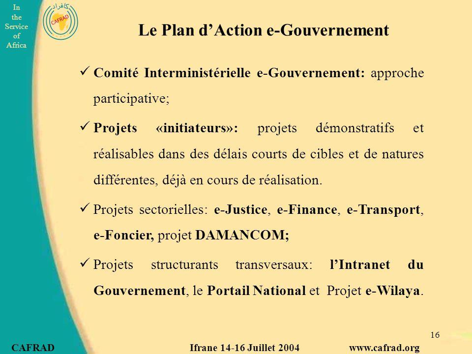 Le Plan d'Action e-Gouvernement
