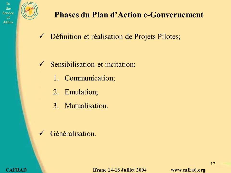 Phases du Plan d'Action e-Gouvernement