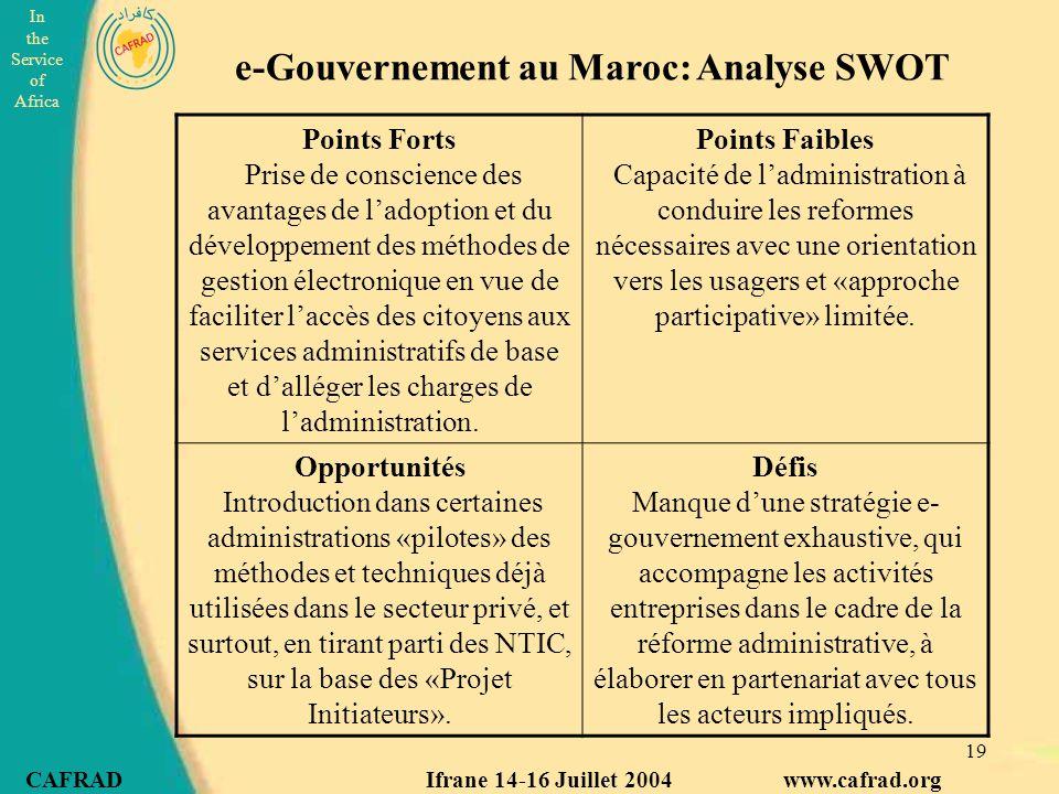 e-Gouvernement au Maroc: Analyse SWOT