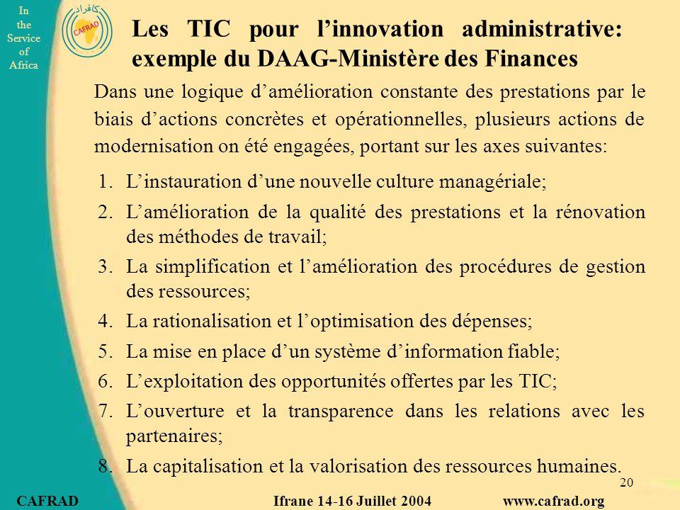 Les TIC pour l'innovation administrative: exemple du DAAG-Ministère des Finances