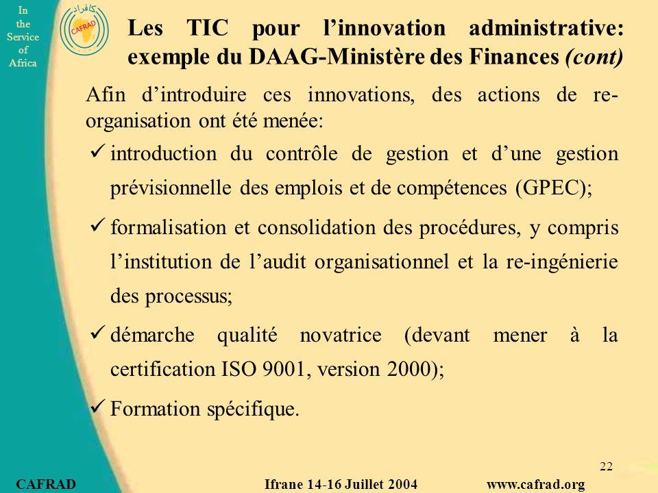 Les TIC pour l'innovation administrative: exemple du DAAG-Ministère des Finances (cont)