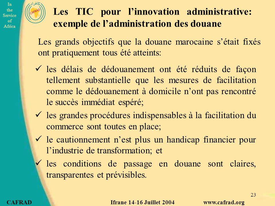 Les TIC pour l'innovation administrative: exemple de l'administration des douane