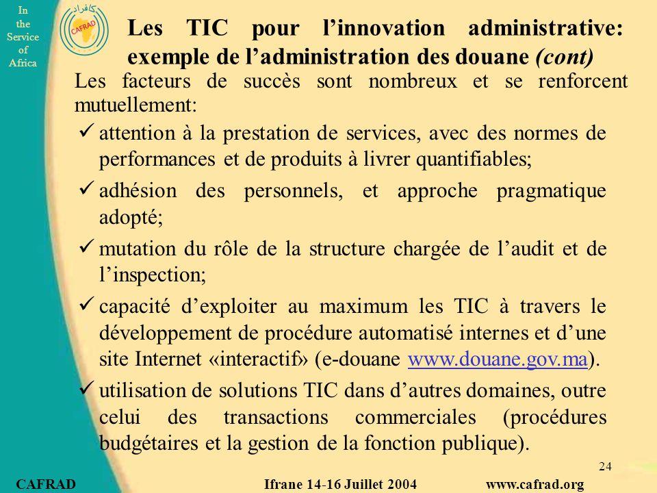 Les TIC pour l'innovation administrative: exemple de l'administration des douane (cont)