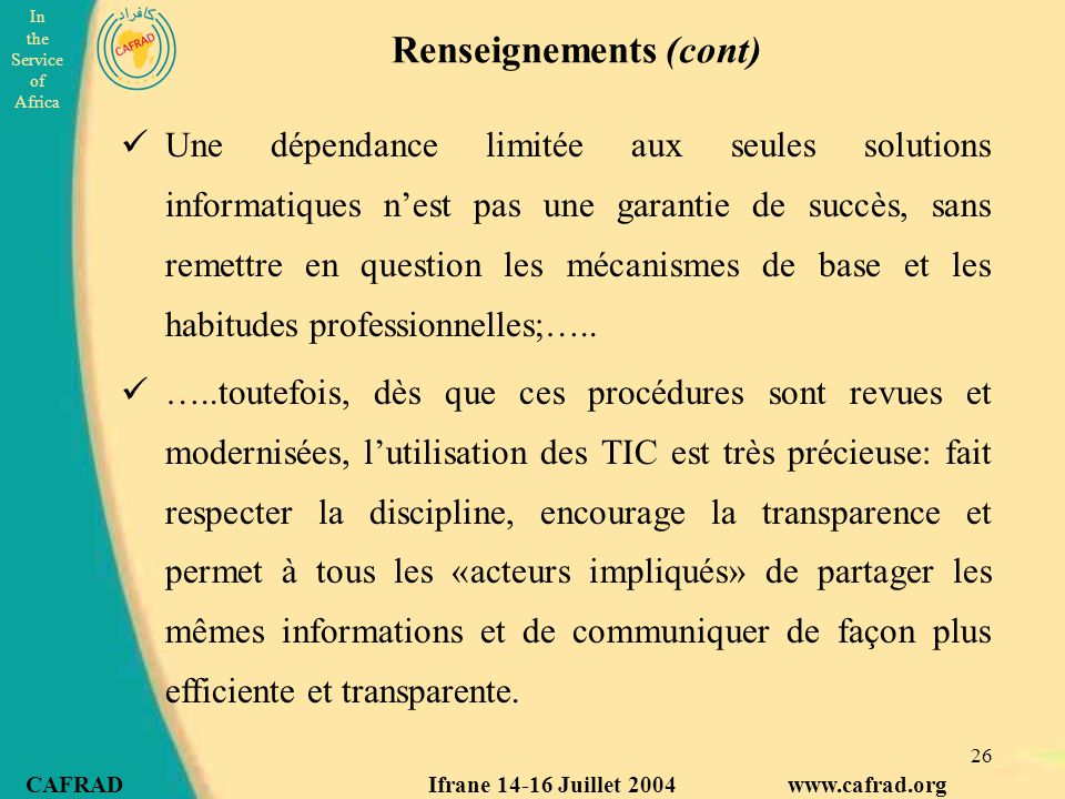 Renseignements (cont)