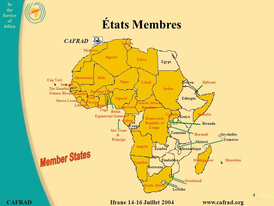 États Membres CAFRAD Member States
