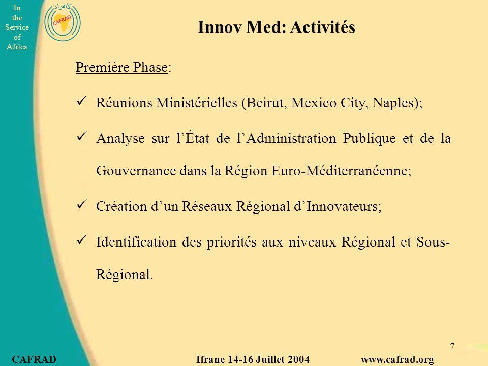 Innov Med: Activités Première Phase: