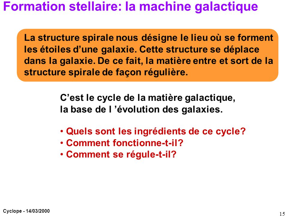 Formation stellaire: la machine galactique
