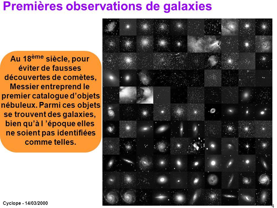 Premières observations de galaxies