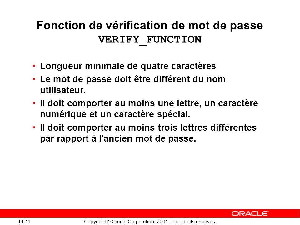 Fonction de vérification de mot de passe VERIFY_FUNCTION