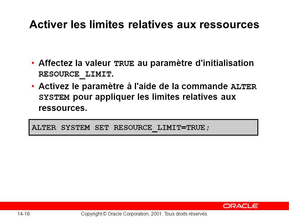 Activer les limites relatives aux ressources