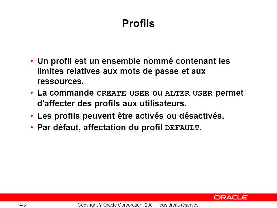 Profils Un profil est un ensemble nommé contenant les limites relatives aux mots de passe et aux ressources.